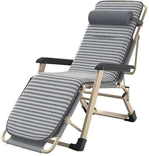 AWJ Tumbona Plegable reclinable en Gravedad Cero Silla de Textil Transpirable Tumbona de jardín portátil para terraza de Playa Balcón con cojín extraíble, Tumbona