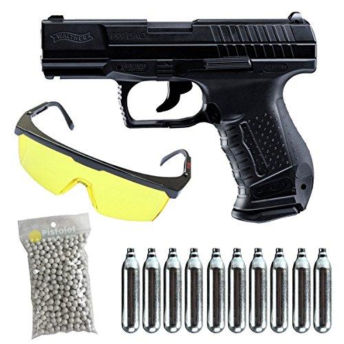 Walther PAQUETE COMPLETO CON ACCESORIOS -Umarex p99 co2 culata metal blowback Calibre 6mm. 1 Julio de potencia-