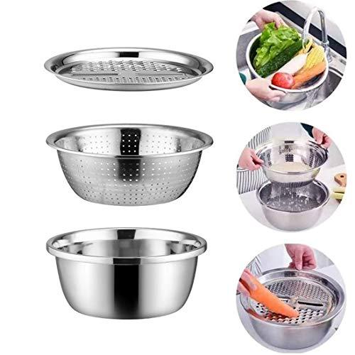 Rallador multiusos de acero inoxidable grueso para queso, cesta de drenaje, cortador de verduras 3 en 1, rallador de cocina, ensaladera para rallar queso, cortar verduras y lavar frutas