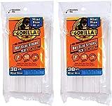 Gorilla Hot Glue Sticks, Mini Size, 4' Long x .27' Diameter, 30 Count, Clear, (Pack of 2)