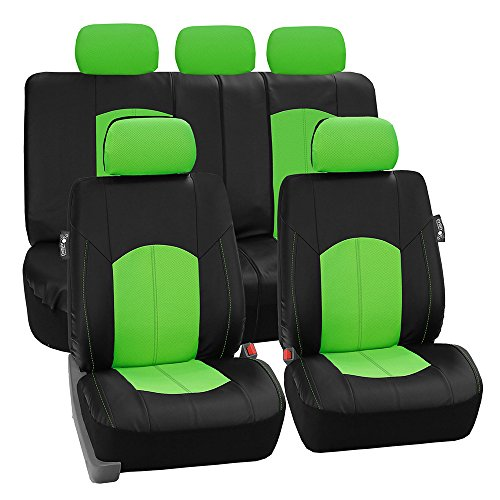 FH Group PU008GREEN115 Full Set Seat Cover (Perforated Leatherette Airbag Compatible and Split Bench Ready Green)