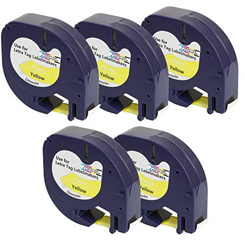 Prestige Cartridge 5 x Kunststoff-Etiketten 91202 S0721620 S0721670 schwarz auf gelb (12mm x 4m) kompatibel für DYMO LetraTag LT110T, LT100H, LT100T, QX50, XR, XM, 2000