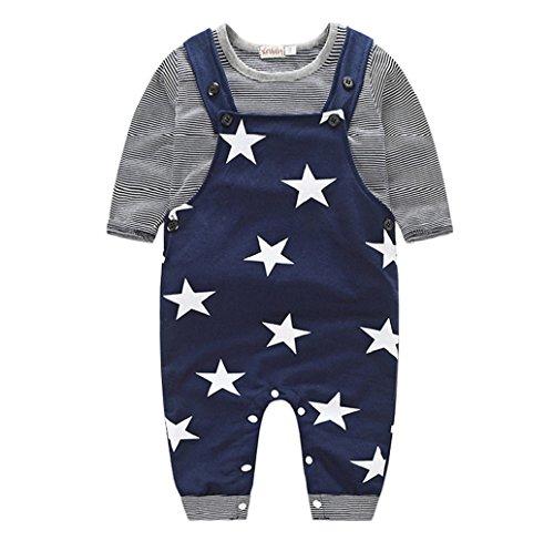 Tonsee 2er Set/Frühling Herbst 2016 jungen Mädchen Kinder Kleidung Baby Striped T-shirt Top + Star Bib Pants Set Freizeit junge Mädchen Outfits (0-6M, Marine)