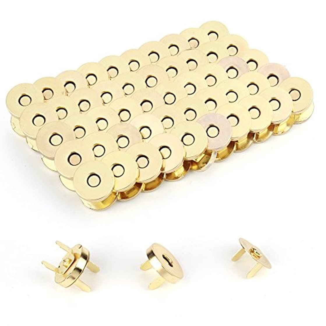 Z-COLOR 100 Sets Tone Magnetic Buttons Snap Clasps For Handbag Purses, DIY Accessories,Bags, Jackets, Covers etc (18mm, Gold)
