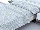 Cabello Textil Hogar - Juego de sábanas térmicas de Pirineo - 3 Piezas - 110 Gr/m2 - Mod. Vectoria (Gris, 150_x_190/200 cm)