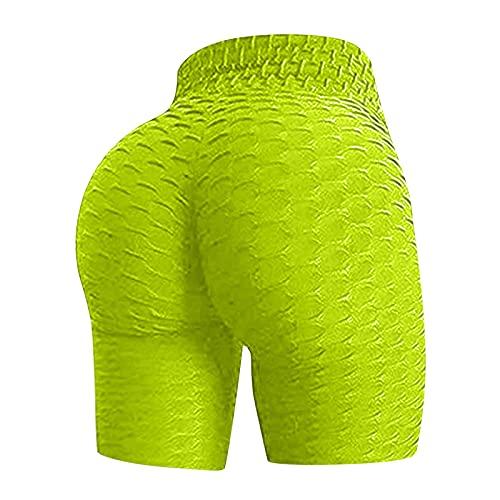 Damen Faltig Hohe Taille Hip Stretch Laufen Fitness Yoga-Hose Biker Kurze Hose, Yoga Hose Taille Sport Radhose Yogahosen Shorts