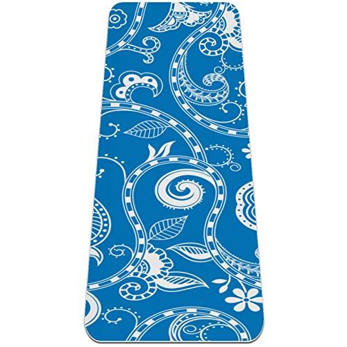 AMEILI Esterilla de yoga respetuosa con el medio ambiente, antideslizante y almohadilla de entrenamiento de amortiguación óptima para mujeres y hombres (72 x 24 x 6 mm), diseño abstracto azul