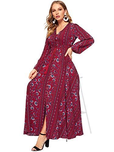 Milumia Women Tassel Tie Smocked Waist Button Up Botanical Dress Burgundy L