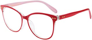 Inlefen Men and Women's Retro Optical Glasses Bright Color Printed Plastic Large Full Frame Eyewear