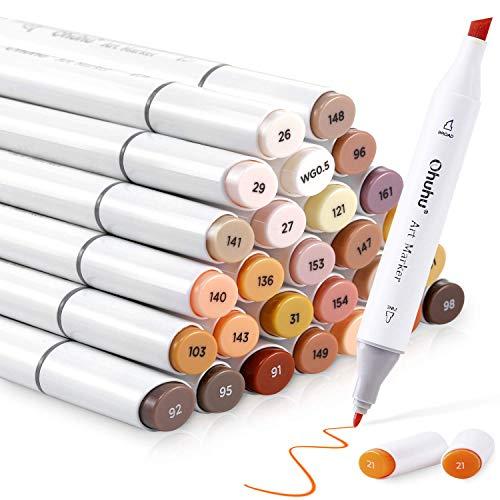 Ohuhu Skin Tone Markers, Alcohol Based Markers Double Tipped Art Marker Set for Kids Adults' Coloring Illustration, 36 Unique Skin-Tone Colors +1 Alcohol Marker Blender + Marker Case, Chisel & Fine