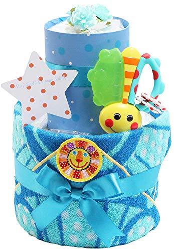Sassy サッシー おむつケーキ 出産祝い 名入れ刺繍 ループ付きタオル 歯固め 男の子 女の子 ご出産祝い 御出産祝い ギフト プレゼント 2段 オムツケーキ ブルー パンパースパンツタイプLサイズ