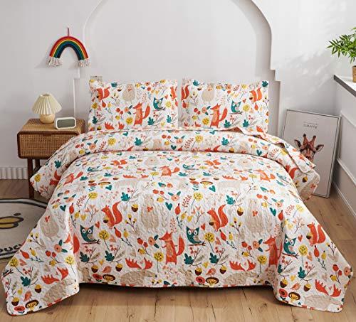Girls Quilts Set Fox Moose Bear Owl Bedding Twin Size,3Pcs Reversible Jungle Animals Coverlets Lightweight Bedspreads Kids Cartoon Woodland Bedding Pillow Shams