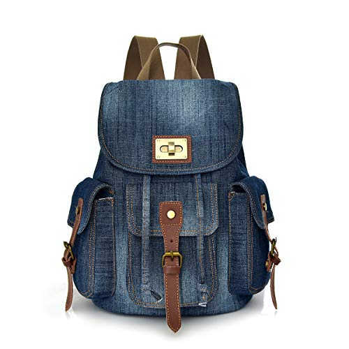 CHEREEKI Backpack, Vintage Jeans Canvas Backpack with Multiple Pockets...