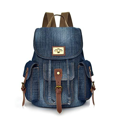 CHEREEKI Zaino, Zaino Borsa Jeans Vintage con Tasche Multiple per Laptop da 14 pollici per Daypack Casual Scuola e Viaggio
