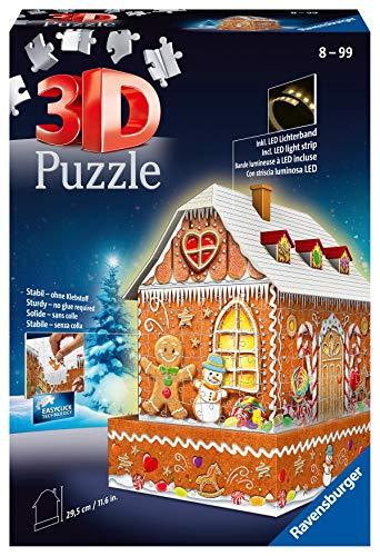 Ravensburger 3D Puzzle 11237 - Lebkuchenhaus bei Nacht - 3D Puzzle für Kinder und Erwachsene, Leuchtet im Dunkeln