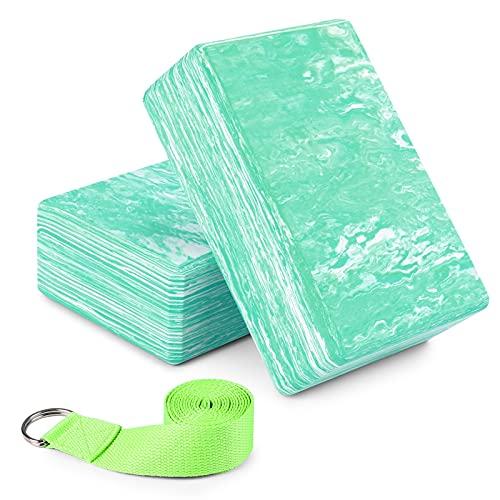 Juego de 2 piezas de yoga Azulejos de yoga de camuflaje con correas de yoga Azulejos de yoga de espuma EVA de alta densidad, azulejos de yoga antideslizantes duraderos Meditación Pilates ejercicios de