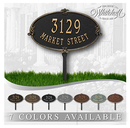 Metal Address Plaque Personalized Cast Lawn Mounted Montecarlo Plaque. Display Your Address and Street Name. Custom House Number Sign.