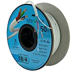 18AWG Low Voltage LED Cable 4 Conductor In-Wall Jacketed Pure Copper Speaker Wire UL/cUL Class 2 (50ft. Spool)