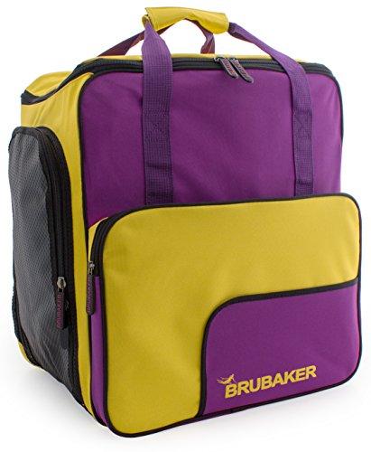 BRUBAKER Boot Bag 'Superfunction 2.0' Backpack holds complete Ski or Snowboard Equipment incl. Helmet! - Limited - Violett/Yellow