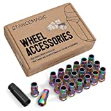 StanceMagic 20pcs Neochrome 12x1.5 Extended Tuner Lug Nuts - Open End, Cone Seat, 50mm (2') Length, 22mm (0.87') Width, 17mm Hex - Works with various Acura Honda Lexus Mazda Scion Kia Toyota Hyundai