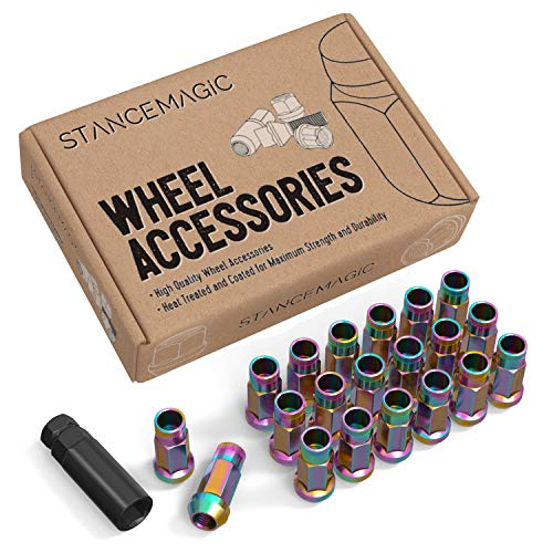 """StanceMagic 20pcs Neochrome 12x1.25 Extended Tuner Lug Nuts - Open End, Cone Taper Acorn Seat, 50mm (2"""") Length, 22mm (0.87"""") Width, 17mm 11/16"""" Hex - Compatible with Nissan Infiniti Subaru and More"""