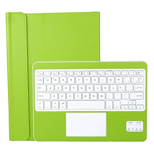 CoastaCloud Funda con Teclado Bluetooth Teclado Bluetooth Inalámbrico 3.0 QWERTY Español con Multi Touchpad - Compatible 9-10.6 Pulgadas Cualquier Windows/Android OS Tablet PC (Verde)