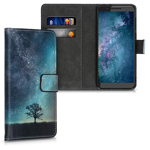 kwmobile Wallet Hülle kompatibel mit Alcatel 3 / 3L (2019) - Hülle mit Ständer Kartenfächer Galaxie Baum Wiese Blau Grau Schwarz