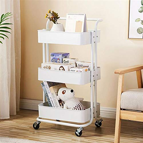 3-Tier Rolling Utility Cart, Multi-Purpose Storage Cart, Trolley Cart with Handles and Roller Wheels Craft Cart, Easy Assembly, for Office, Home, Kitchen, Bedroom, Bathroom (White with Handle)