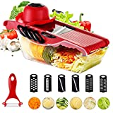 Mandoline Vegetable Slicer Cutter Food Fruit Julienne Shredder Mandolin, 6 Interchangeable Blades with Peeler, Hand Protector,Storage Container - Cutter for Potato,Tomato, Onion, Cucumber,Cheese etc