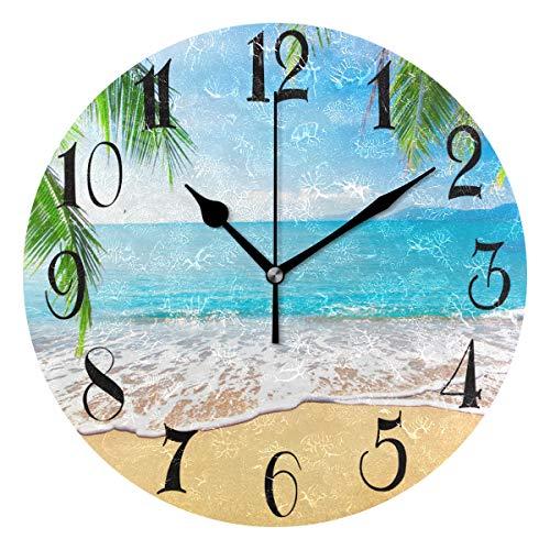 ZOEO Palm Trees Hawaiian Tropical Seashore Beach Clock Acrylic Painted Silent Non-Ticking Round Wall Clock Home Art Bedroom Living Dorm Room Decor