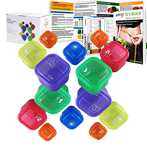 21 Day Portion Control Container kit - 14 Pieces by GAINWELL