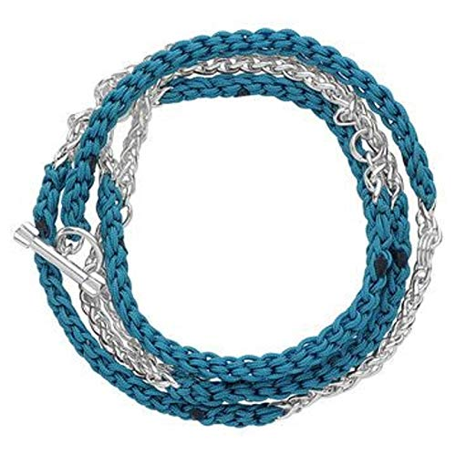 LINKS OF LONDON Ladies Turquoise Woven Wrap Charm Silver Bracelet Medium NEW
