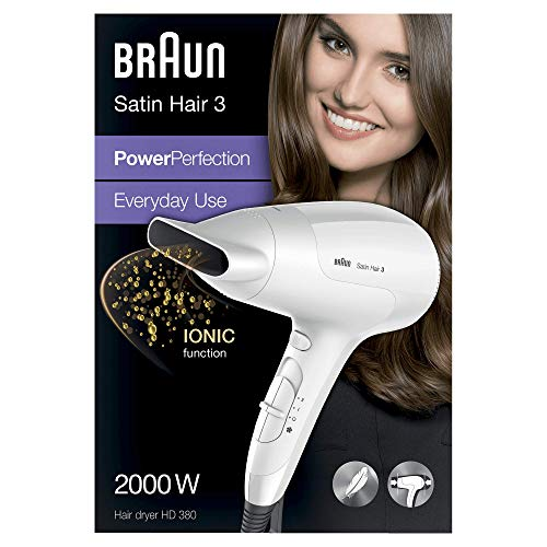 Braun Satin Hair 3 Power Perfection Haartrockner HD 380, mit IonTec, 2000 Watt
