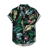 PANGKII Haut de Chemise Grande Taille en Coton et Lin imprimé Vintage hawaïen pour Homme