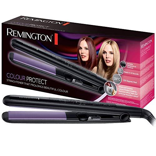Remington Colour Protect S6300 - Plancha de Pelo, Cerámica, Placas Flotantes Extra Largas, 30 Ajustes, Negro y Morado