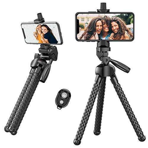 Phone Tripod Flexible Upgraded, 11 Portable Cell Phone Travel Tripod Stand with Wireless Remote Shutter and Universal Phone Mount, Compatible with Smart Phones, Sports Camera GoPro
