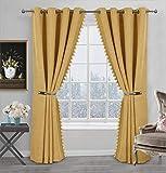 Always4u - Cortina opaca de lino con flecos y pompones, cortina térmica aislante contra el frío, decoración para cocina, dormitorio, moderna, 140 x 175 cm, lote de 2 unidades