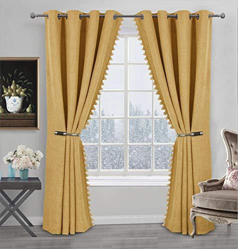 Always4u Design - Cortina opaca con flecos y pompones, cortina térmica aislante contra el frío, decoración para la cocina, dormitorio, moderna, color amarillo 137 x 213 cm