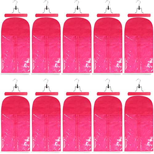 10 Pack Hair Extension Storage Bag Hair Extension Hanger Strong Holder Dust-proof Portable Suit with Transparent Zip Up Closure- Lightweight, Waterproof and Portable (Rose Red)