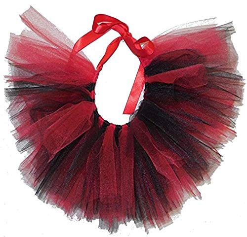 PAWPATU Team Spirit Tulle Tutu for X-Small Dogs, Handcrafted in USA, Red and Black