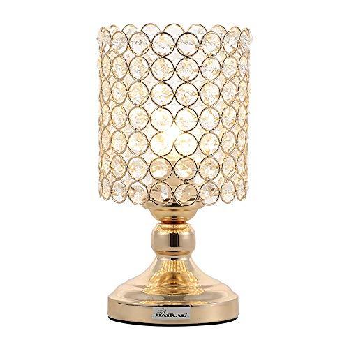 Haitral Mini Tablamp, kristallen lampen, moderne nachtlamplamp met metalen frame voor slaapkamer, goudkleurige metalen lampen voor nachtkastje ghfdsdgf Vierenttig