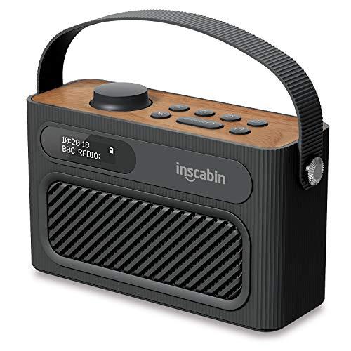 Inscabin M60 Tragbarer DAB/DAB + FM-Digitalradio/Tragbarer drahtloser Lautsprecher mit Bluetooth/Stereo-Sound/Doppellautsprecher/Doppelwecker/Subwoofer/Akku/Schönes Design (Schwarz)
