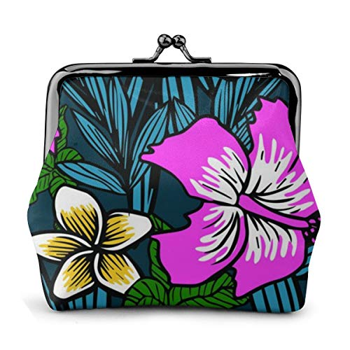 Women's Wallet Hawaiian Grass Coin Purse Kiss-Lock Buckle Coin Pouch Mini Travel Cash Cards Bag