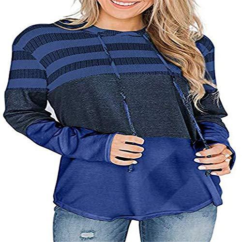qulvyushangmaobu Damen Triple Color Block Stripes Hoodies Lässige Pullover Kordelzug Sweatshirt Hoodies Sweatshirt Pullover Pullover Langarm Pullover Pullover Long Tops Pullover Kleid