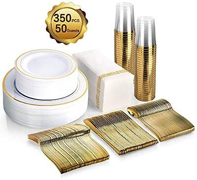 350 Piece MCIRCO Gold Dinnerware Set - 100 Gold Rim Plastic Plates - 50 Gold Plastic Silverware - 50 Gold Plastic Cups - 50 Linen Like Gold Paper Napkins, 50 Guest Disposable Gold Dinnerware Set