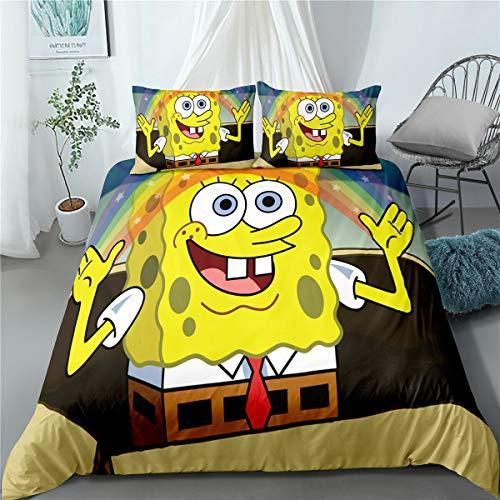 Enhome Bettbezug Bettwäsche Set, 3D Comics Spongebob Druck Bettwäsche-Set Mikrofaser Weiche mit Reißverschluss Bettbezug & Kissenbezüge für Teens Adult (SquarePants4,220x240cm)