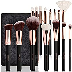 Bộ cọ trang điểm lông Dê 15 cây Docolor Makeup Brushes 15 Piece Makeup Brushes Set Premium Synthetic Goat Hairs Kabuki Brushes Foundation Blending Blush Face Eyeliner Shadow Brow Concealer Lip Cosmetic Brushes Kit with Cosmetic Bag