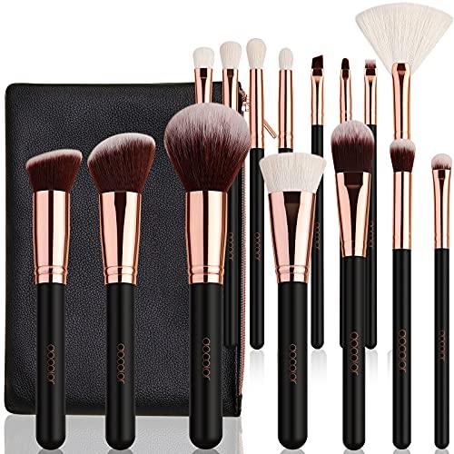 Docolor Pinselset Makeup 15 Stück Kabuki Make-up Pinsel Set mit Etui Professionelle Make-up Lidschattenpinsel mit einer tragbaren schwarzen Kosmetiktasche