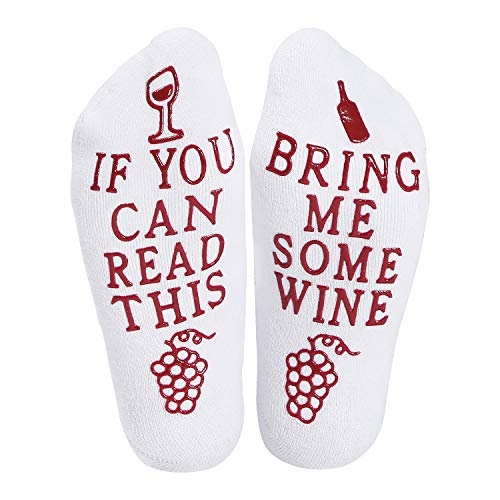 Valentines Day Gifts Wine Socks With Funny Words If You Can Read This,Cupcake Gift Packaging,Valentine's Day,Mother's Day,Christmas Day,Birthday,Anniversary,Gifts for Women,Mom,Her,Wife (White)