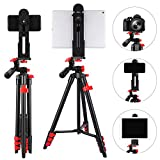 Tablet Tripod 53 inch iPad Tripod Aluminum Smartphone Tripod for iPhone iPad Pro Camera...